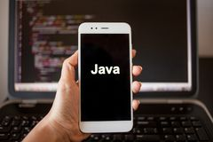 Mobile application development, Java programming language for mobile development. royalty free stock image