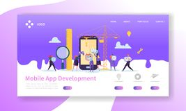 Mobile Application Development Landing Page. Coding Technology with Flat People Characters Website Template. Vector illustration stock illustration