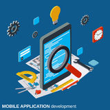Mobile application development, program coding, algorithm optimization vector concept Stock Photography