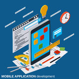 Mobile application development, program coding vector concept Royalty Free Stock Photography