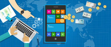 Mobile application economy royalty free illustration