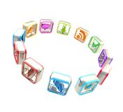 Mobile application emblems in a circle isolated Royalty Free Stock Images