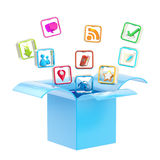 Mobile application icon inside a box Royalty Free Stock Photography