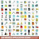 100 mobile application icons set, flat style Royalty Free Stock Photography