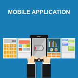 Mobile application illustration. Flat designs.. Mobile application concept on gadget screen Royalty Free Stock Photo