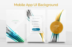 Mobile application interface background design. Mobile application interface background, user interface - UI. Smartphone screen mockup gui - wave pattern Stock Photography