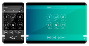 Mobile application interface concept. Phone and tablet with curved edge Stock Image