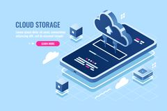 Mobile application isometric icon, download file on smartphone from cloud server storage, safety remote data backup. Cloud calculation power flat vector royalty free illustration