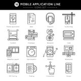 Mobile Application Line Icon Set. With descriptions of coding design prototype wireframe optimization statistics in line style vector illustration Stock Image