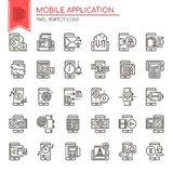 Mobile Application. Thin Line and Pixel Perfect Icons Royalty Free Stock Photography