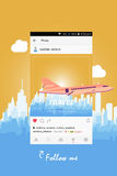 Mobile application and plane flying over the city. vector illustration