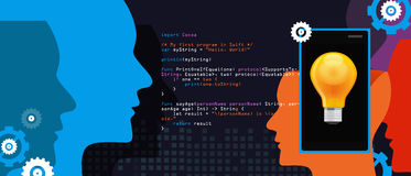 Mobile application programming language code smart phone head and idea. Vector Stock Photography