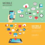 Mobile application technology banner template flat design Royalty Free Stock Photo