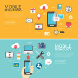 Mobile application technology banner template flat design Stock Photos