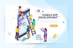 Mobile application user and developers. Mobile application, user and developer group. Can use for web banner, infographics, hero images. Flat isometric people Royalty Free Stock Photos