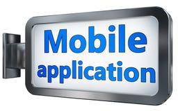 Mobile application on billboard stock images