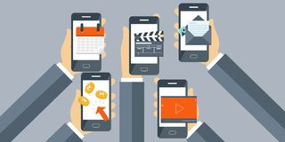 Mobile applications concept. Flat vector illustration. Mobile applications concept. Mobile software development flat banner. Flat vector illustration Royalty Free Stock Images