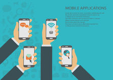Mobile applications concept. Hands with phones. Flat  illustration Royalty Free Stock Images