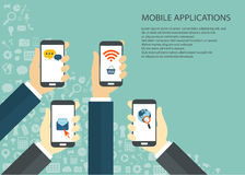 Mobile applications. Concept. Hands with phones. Flat illustration stock illustration
