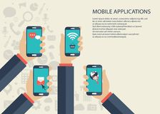 Mobile applications concept. Hands with phones. Flat vector illustration. Mobile applications concept. Hands with phones and applications. Flat vector Stock Illustration