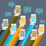 Mobile applications concept. Hands with phones. Flat  illustration. Mobile applications concept. Hands with phones and speech bubbles. Flat  illustration Royalty Free Stock Photo