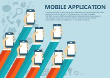 Mobile applications concept. Hands with phones. Flat  illustration. Mobile applications concept. Hands with phones and speech bubbles. Flat  illustration Royalty Free Stock Photos
