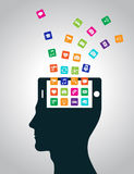 Mobile applications are downloaded and installed in the head in the form of a smartphone, replacing the mind. Modern technologies replace thinking, control vector illustration