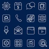 Mobile applications icons outline Stock Images