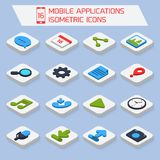 Mobile applications isometric icons Stock Photography