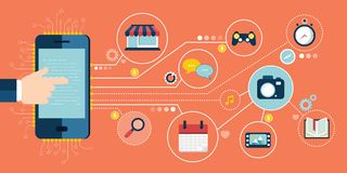 Mobile applications and mobile development concept. Flat vector illustration. Mobile applications and mobile development concept. Business and technology banner Royalty Free Stock Image