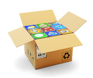 Mobile applications pack, package of smartphone apps, multimedia technology and online store market concept Stock Photos