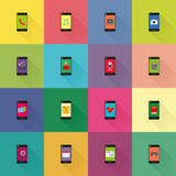 Mobile applications on smartphones Royalty Free Stock Images