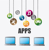 Mobile applications and technology icons design. Stock Photography