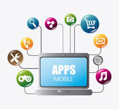 Mobile applications and technology icons design. Stock Images