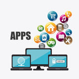 Mobile applications and technology icons design. Royalty Free Stock Image
