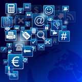 Mobile apps. Blue mobile apps on blue background Royalty Free Stock Photo