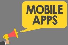 Mobile Apps des textes d'écriture de Word Le concept d'affaires pour de petits programmes sont faits fonctionner aux téléphones c Illustration Stock