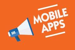 Mobile Apps des textes d'écriture de Word Le concept d'affaires pour de petits programmes sont faits fonctionner aux téléphones c Illustration de Vecteur