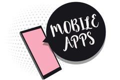 Mobile Apps des textes d'écriture de Word Le concept d'affaires pour de petits programmes sont faits fonctionner aux téléphones c Illustration Libre de Droits