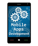 Mobile Apps Development. Concept image with text and related symbols stock images
