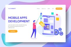 MOBILE APPS DEVELOPMENT. Landing page template of MOBILE APPS DEVELOPMENT Concept. Modern illustration flat design concept of web page design for website and stock illustration