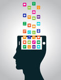 Mobile apps are downloaded and installed in the head in the form of a smartphone, replacing the mind. Modern technologies replace thinking, control perception stock illustration
