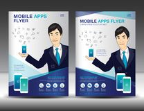 Mobile Apps Flyer template. Business brochure flyer design layou Royalty Free Stock Images