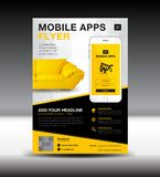 Mobile Apps Flyer template. Business brochure flyer design layout. smartphone icon mockup. application presentation. Furniture magazine ads. Yellow cover vector illustration