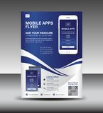 Mobile Apps Flyer template. Business brochure flyer design layout. smartphone icons mockup. application presentation. Magazine ads royalty free illustration