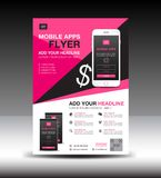 Mobile Apps Flyer template. Business brochure flyer design layout. Smartphone icons mockup. application presentation. Magazine ads. Pink cover. poster. leaflet vector illustration