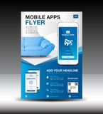 Mobile Apps Flyer template. Business brochure flyer design layout. smartphone icon mockup. application presentation. Furniture magazine ads. Blue cover. poster Stock Images