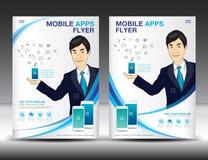 Mobile Apps Flyer template. Business brochure flyer design Stock Image