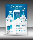 Mobile Apps Flyer template on Winter Landscape Background. Business brochure flyer design layout. smartphone icons mockup, poster Royalty Free Stock Photography