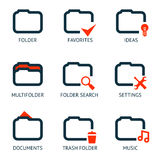 Mobile Apps Folder Icons Set Favorites Settings Music Ideas Search Documents Trash Isolated Template Vector Illustration Stock Photos